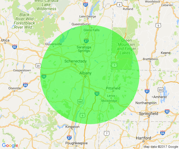 WRPI's 75 Mile Radius about the Capital District